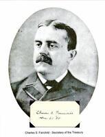 Charles Fairchild Autograph Secretary Treasury Attorney General New York Havard