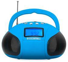 Mini Bluetooth Lautsprecher Radio Wecker Akku Boombox Speaker USB SD Player blau