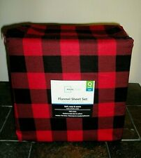 Red & Black Plaid Flannel Queen Sheet Set Bedroom 100% Cotton
