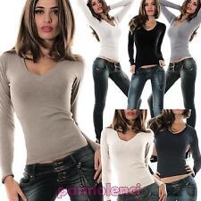 Maglione pullover maglioncino donna aderente scollo V costine maglia nuovo 6827