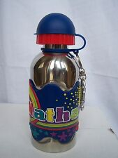 NATHAN Funky Named Metal Silicone Drinks Bottle Flask Container Thermos BLUE