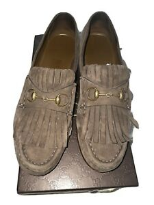 Gucci Womens Shoes Brown Suede Horsebit Loafers UK 6 Ladies