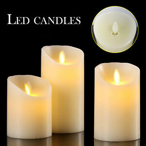 Set of 3 LED Flameless Pillar Candles Flickering Battery Operated With Remote