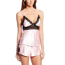 2pcs Women Sexy Satin Lace Sleepwear Babydoll Lingerie Nightdress Pajamas Set G9
