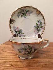 Floral Scalloped Tea Cup & Saucer Japan