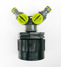 """IBC ADAPTER (H/D) to Twin 1/2"""" Snap on Push Fit Hose Connector. c/w ON/OFF Taps"""