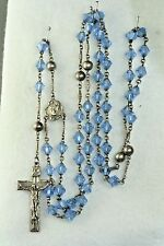 VTG 1945 STERLING SILVER BLUE BICONE CRYSTAL BEAD ROSARY