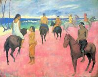Paul Gauguin Riding on the Beach CANVAS Print Fine Art Giclee Repro Small 8x10