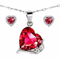 """Sterling Silver Red Ruby Pendant Necklace Earring Set with 925 18"""" Chain"""