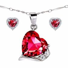 "Sterling Silver Red Ruby Pendant Necklace Earring Set with 925 18"" Chain"