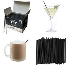 "Cocktail Coffee Sip Plastic Stirrers Straw Bar Drink Straws Box Black 5"" 7""1/2"