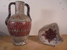 Céramique Vintage 40 Duo Vase & Vide-Poche Décor Scarifié J.Massier Vallauris