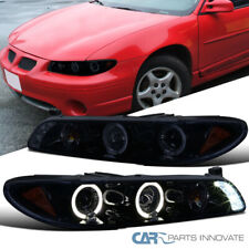 Piano Black Pontiac For 97-03 Grand Prix LED Halo Projector Headlights Headlamps