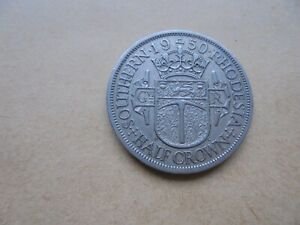 HIGHLY COLLECTABLE 1950 SOUTHERN RHODESIA  HALF CROWN REF 575