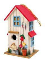 Casetta bianca per uccelli, tetto rosso, cm 24x15x13, voliera casa uccellini