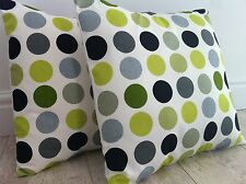 """New Prestigious Lime Black White Green Spot Design Scatter Cushion Covers 16"""""""