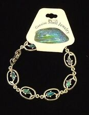 Dolphin Abalone Shell Inlayed Charm Bracelet 7 1/2 in