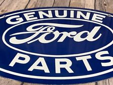 "Vintage Genuine Ford Parts 17"" Porcelain Advertising Car Truck Gasoline Oil Sign"