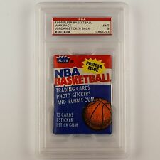 1986-87 NBA Basketball Fleer Wax Pack with Michael Jordan Rookie Card Back PSA 9