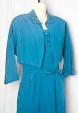 40s Divine Turquoisey Faille Dress & Jacket & Embroidede Florals with Beadwork