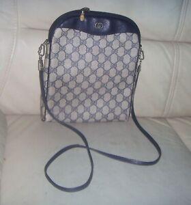 Vintage Gucci Navy Blue GG Monogram Shoulder Crossbody Bag - ITALY