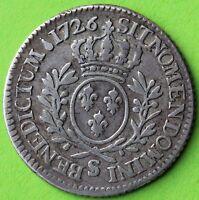 RARE LOUIS XV 1/5 ECU AUX BRANCHES D'OLIVIER 1726 S
