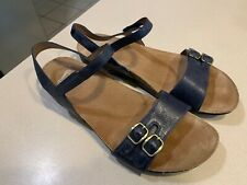 """DANSKO Women's """"Rebekah"""" Navy Waxy Burnished Sandals Size 40"""