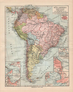Antique map. SOUTH AMERICA. POLITICAL MAP OF SOUTH AMERICA. c 1909