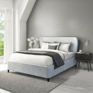 Margot Velvet King Size Ottoman Bed in Silver Grey