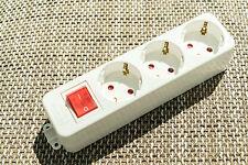 Aufputz STECKDOSE mit SCHALTER Schutzkontakt 3-fach-Steckdosenleiste schuko