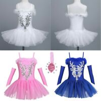 UK Girls Gymnastic Ballet Dance Dress Kids Leotard Tutu Skirt Skate Swan Costume