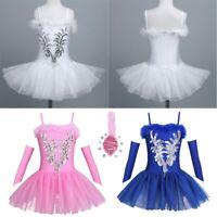 Girls Kids Ballet Dress Leotard Swan Tutu Skirt Dancewear Sequined  Costume Set