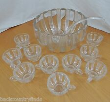Beautiful 16 Cup Fluted Party Glass Punch Bowl 10 Cup Set Blown Glass Ladle