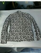 Men's Sheer Istante Versace Long Sleeve Shirt - Black & White Geometric Pattern