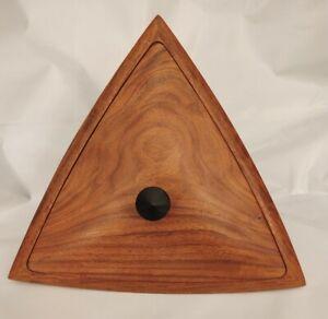 "Wooden Triangular Box w Lid. wo Stand 10"" x 7"""