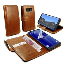 TUFF LUV Genuine Leather Folio Wallet Case & Stand for Galaxy Note 8-Brown