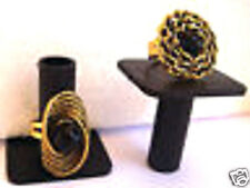 2 ANTIQUE look Rings  BLACK STONE & AGED  WOVEN GOLD METAL Sz 7 & 7.5 Adjustable