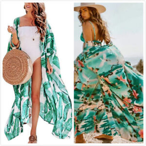 Womens Leaf Floral Kimono Cardigan Boho Beach Open Front Top Long Coat Cover Up