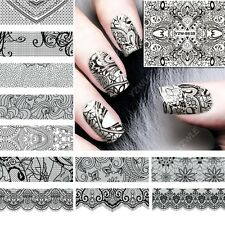 12 sheets water transfer nail art stickers black flower lace full version design