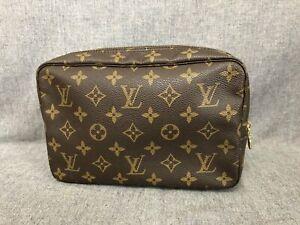 Authentic Louis Vuitton Brown Canvas Monogram Toiletry 23 Cosmetic Bag M47524
