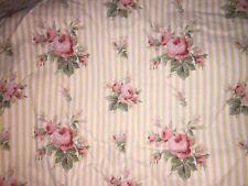 RALPH LAUREN SOPHIE Queen Fitted Sheet Floral Yellow Rose Stripe Deep Pockets