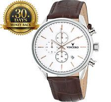 Original Vincero Men's Watch Chronograph Leather Strap 12 Hour Dial Wrist Watch