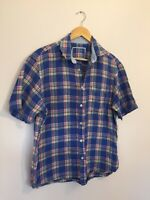 Marks And Spencer Shirt Medium Pure Linen Blue Check Plaid Short Sleeve Casual