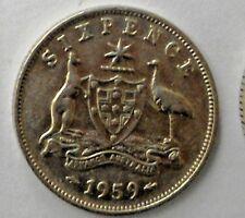 1959 Australian Silver 6d SIXPENCE (ZACK) QUEEN Elizabeth II (very Nice)gr8 Gift