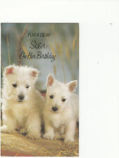 Happy Birthday Sister Vintage West Highland Terrier Puppy Dogs Greeting Card
