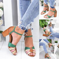 Women Chunky Heel Block Sandals Strap Peep Toe Bandage Summer Fashion Shoes