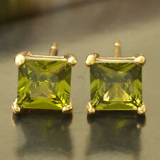 Womens Mens 18K Gold Filled Punk Square Olive Green Crystal Stud Earrings Lot