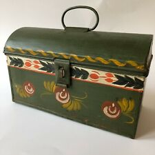 Vtg Tole Hand Painted Tin Box Dome Lid Green Metal Antique Floral Folk Art