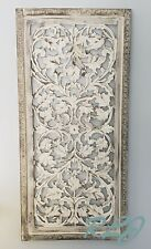 Rustic Tuscan Shabby Chic White-Washed Carved Wood Wall Art Panel Plaque Decor
