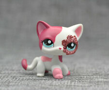 Littlest Pet Shop LPS Pink White Short Hair Cat Child Toys #2291 Xmas